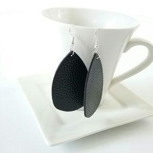 Jewelry - Black Vegan Leather Drop Earrings